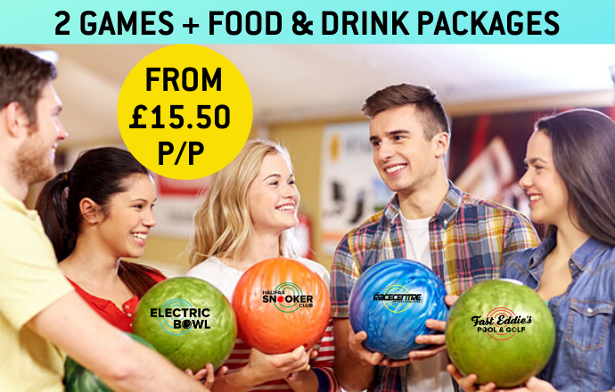 2 GAMES + GROUP FOOD & DRINK PACKAGES